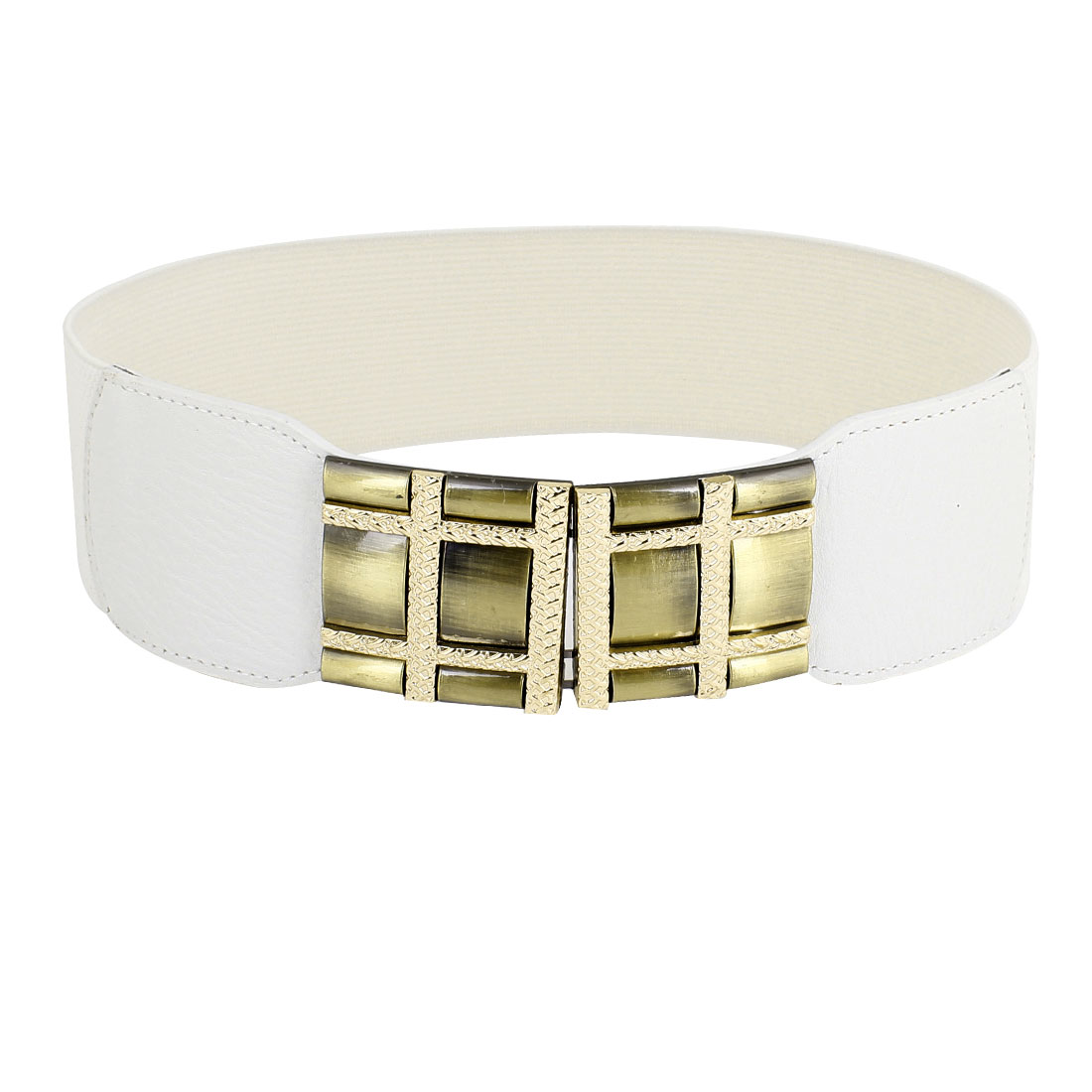 Women Metal Checker Detailing Hook Buckle Stretchy Waistbelt Band White