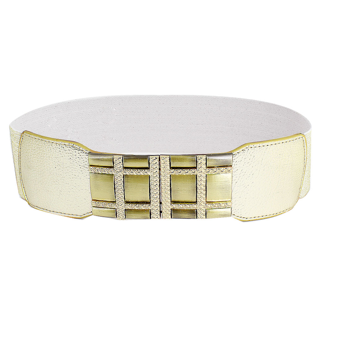Lady 6cm Width Interlocking Buckle Gold Tone Elastic Cinch Belt Band