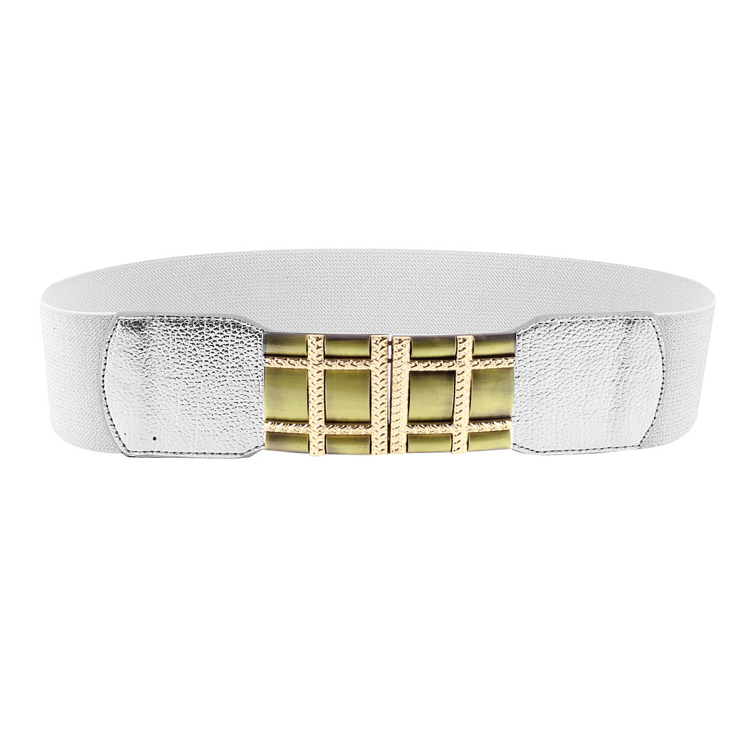 Lady 6cm Width Interlocking Buckle Silver Tone Elastic Cinch Belt Band