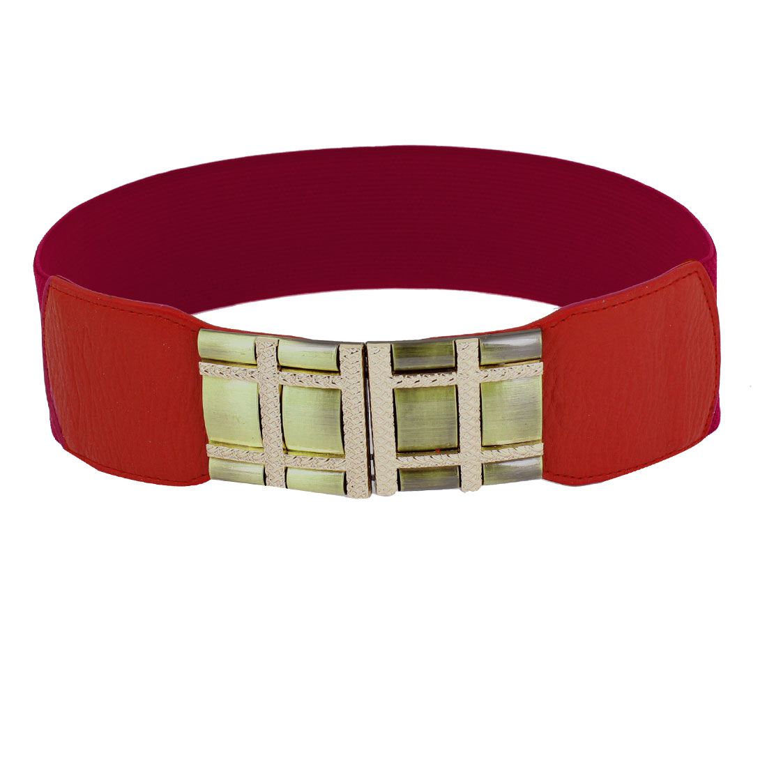 Metal Check Design Interlock Buckle Red Elastic Waist Band Belt for Lady
