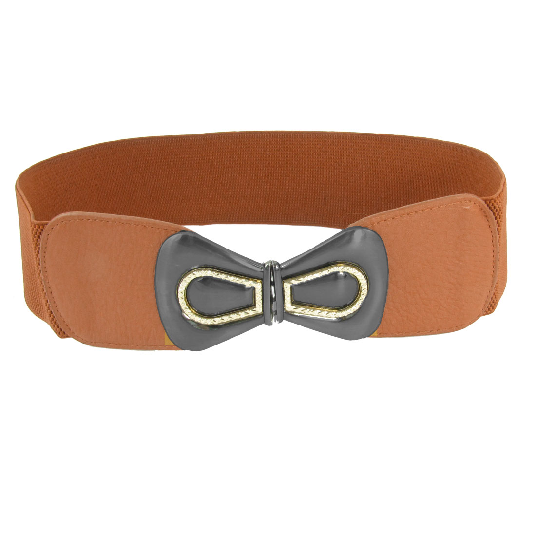 Women Gray Metal Interlocking Buckle 6cm Wide Brown Spandex Waist Belt