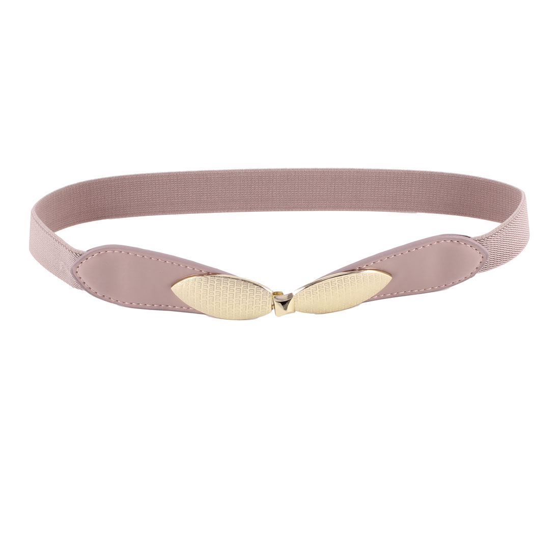 Ladies Pink Gold Tone Bowtie Interlocking Buckle Elastic Waistband Cinch Belt