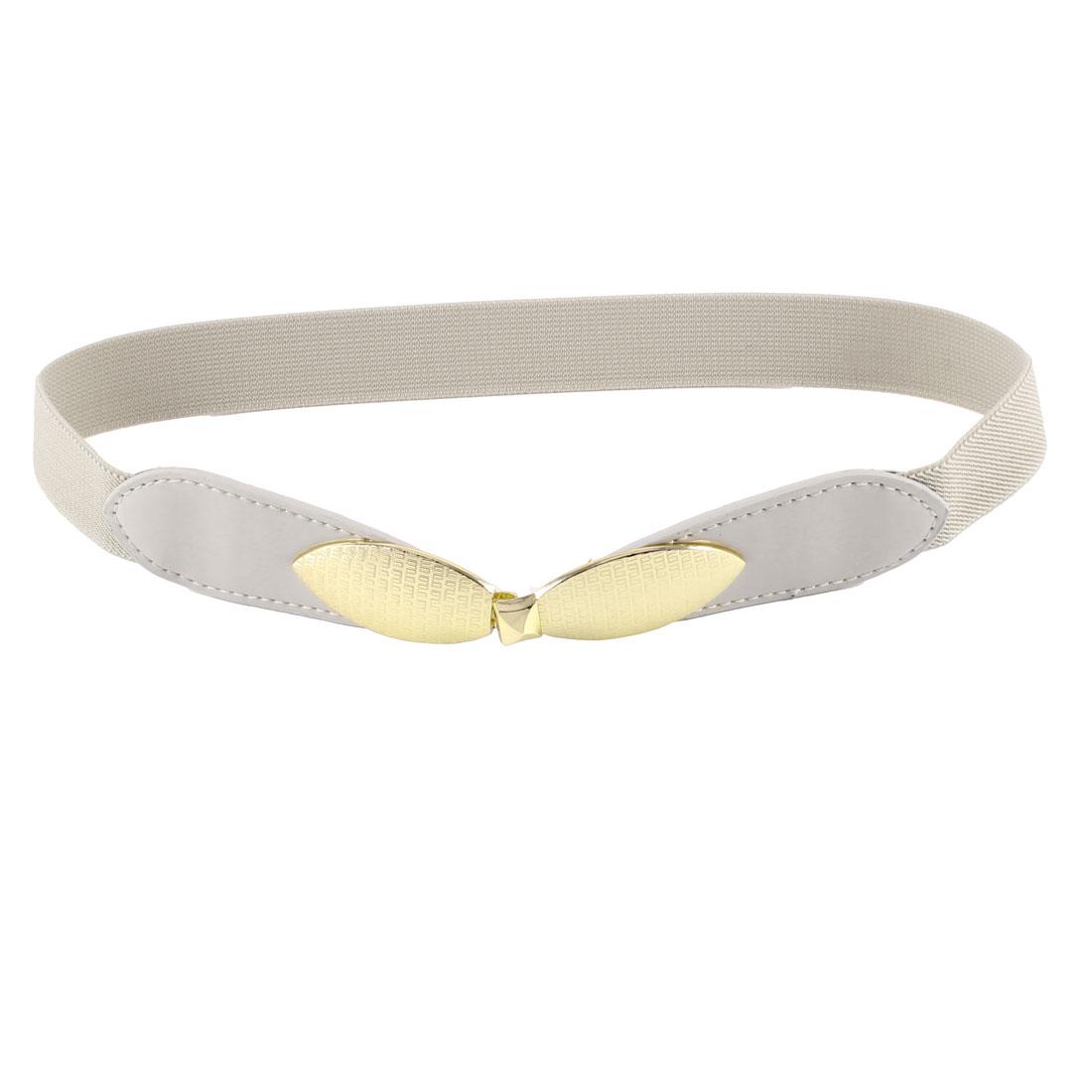 Women Interlock Buckle Faux Leather Thin Skinny Waistband Waist Belt Light Khaki