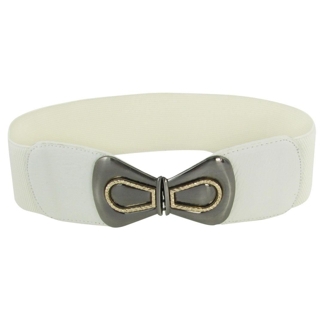 Lady Bowknot Design Metal Interlocking Buckle Spandex Cinch Band Waistbelt White