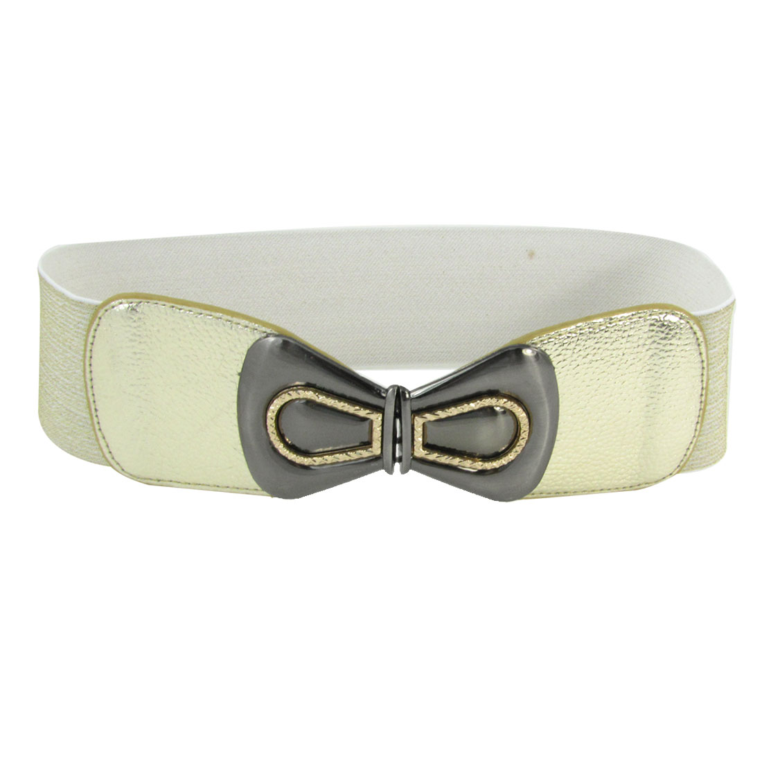 Gray Bowknot Shape Metal Interlock Buckle Gold Tone Elastic Textured Waistbelt