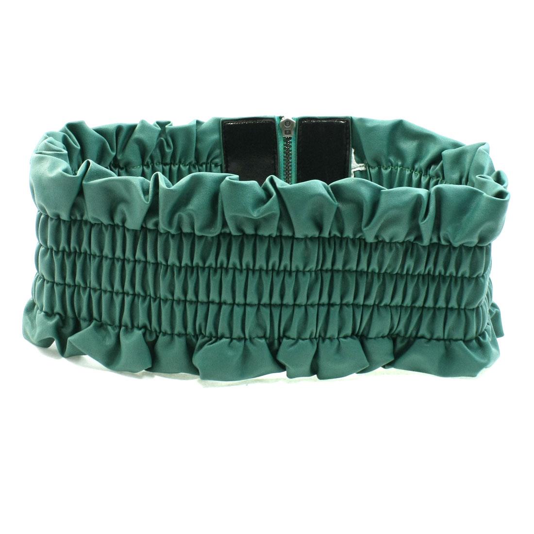 Zipper Closure Green Faux Leather Elastic Waist Belt for Ladies