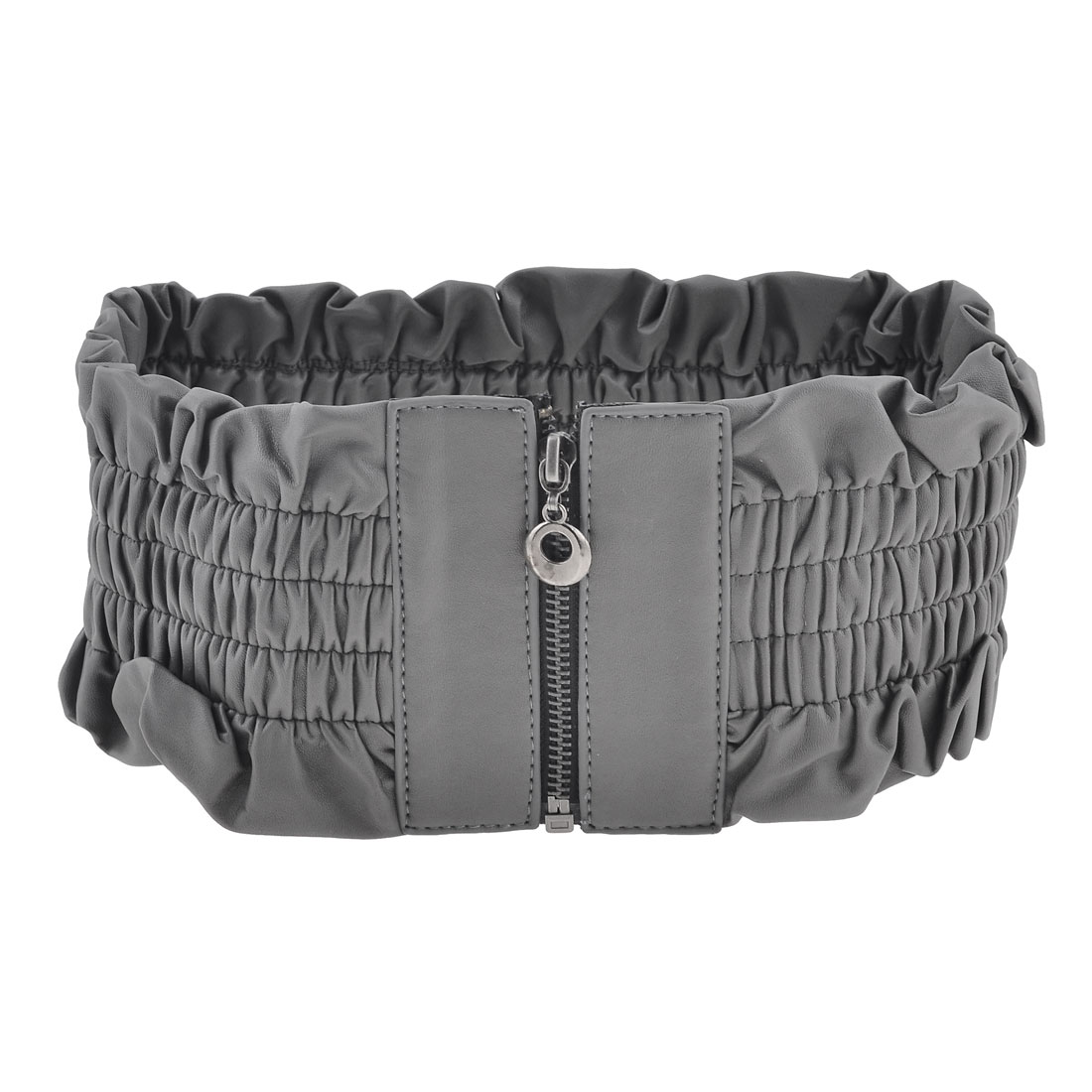 Woman Faux Leather Zip Up Front Lady Gray Stretchy Waist Belt