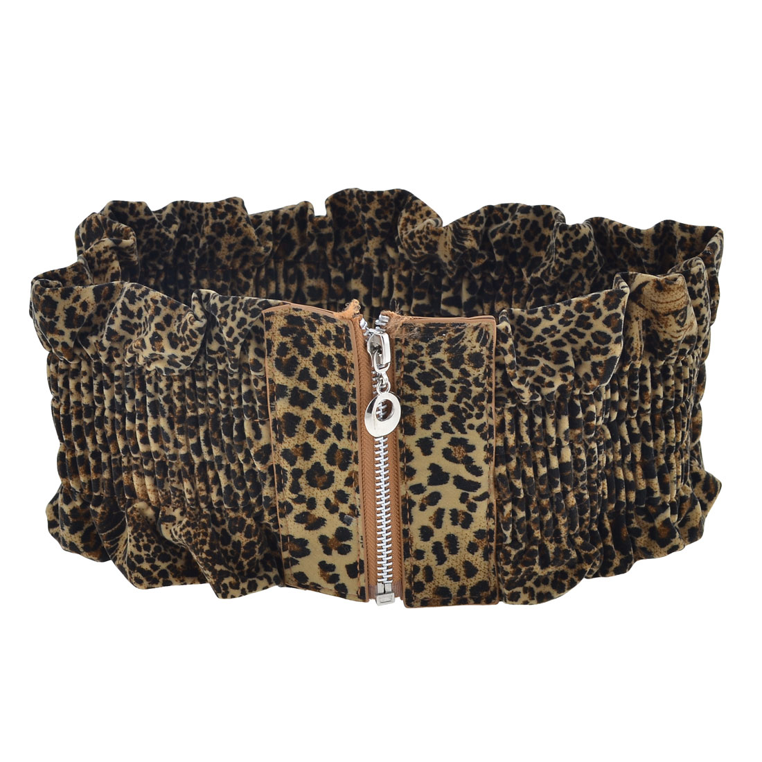 Zipper Closure Leopard Print Faux Leather Elastic Waist Belt for Ladies