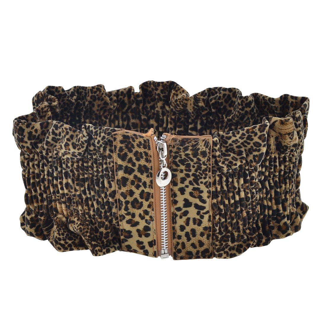 Zipper Closure Leopard Print Faux Leather Elastic Waist Belt for Ladies