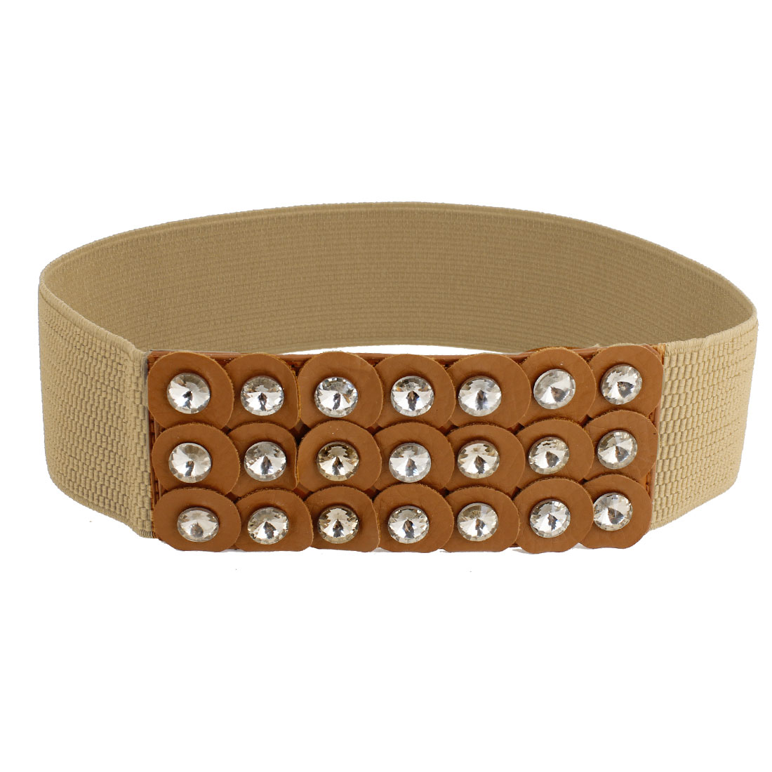 Lady Press Stud Button Buckle 6cm Width Elastic Brown Waist Belt Corset Band