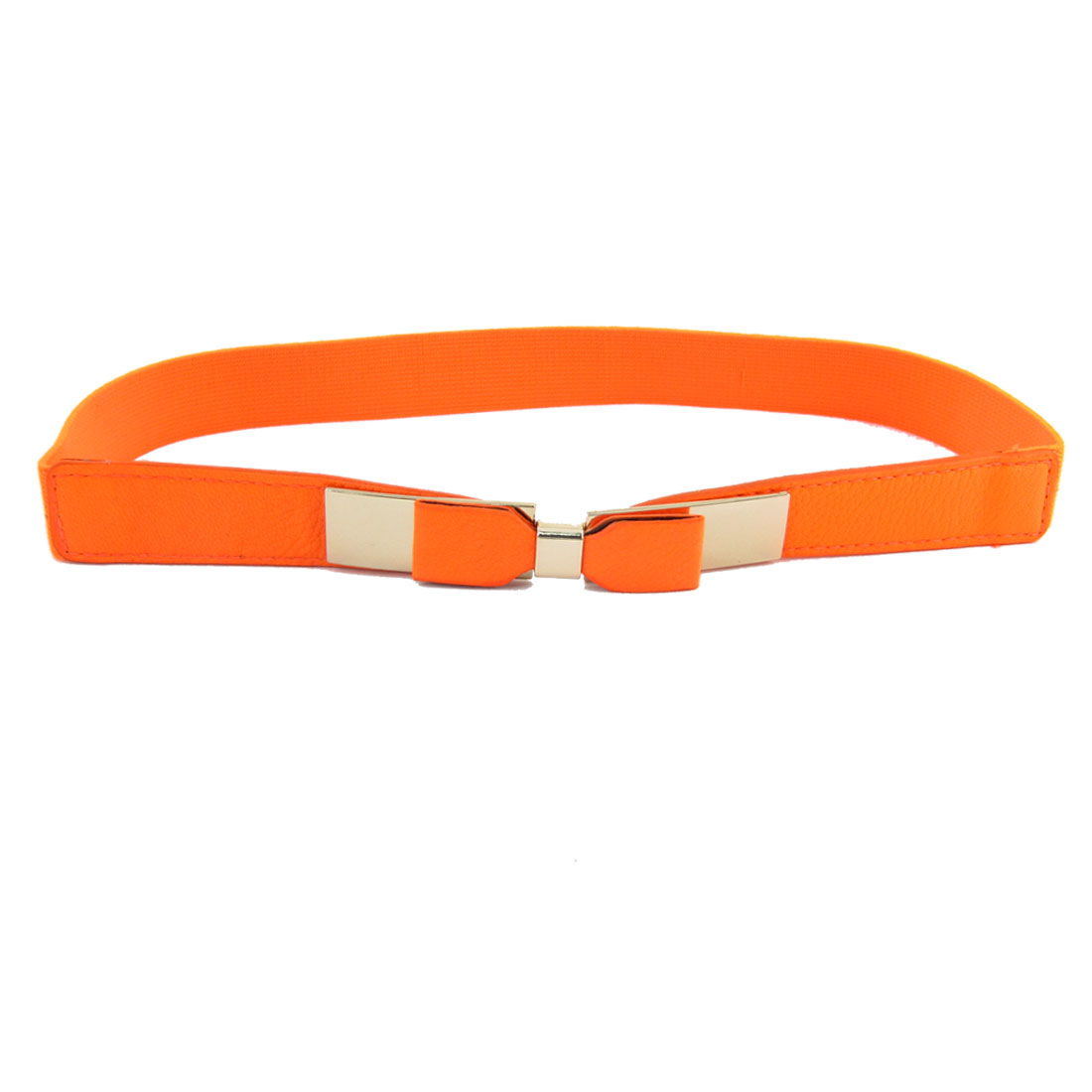 Faux Leather Bowknot Accent Metal Buckle Elastic Cinch Waistbelt Orange for Lady
