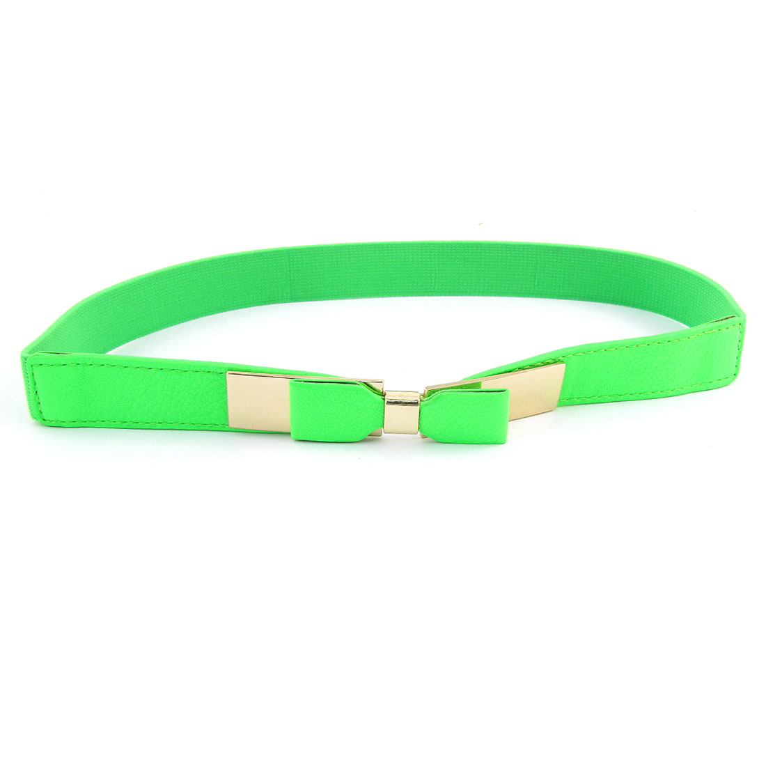 Bowknot Detail Interlock Buckle Green Textured Elastic Cinch Band Belt for Lady