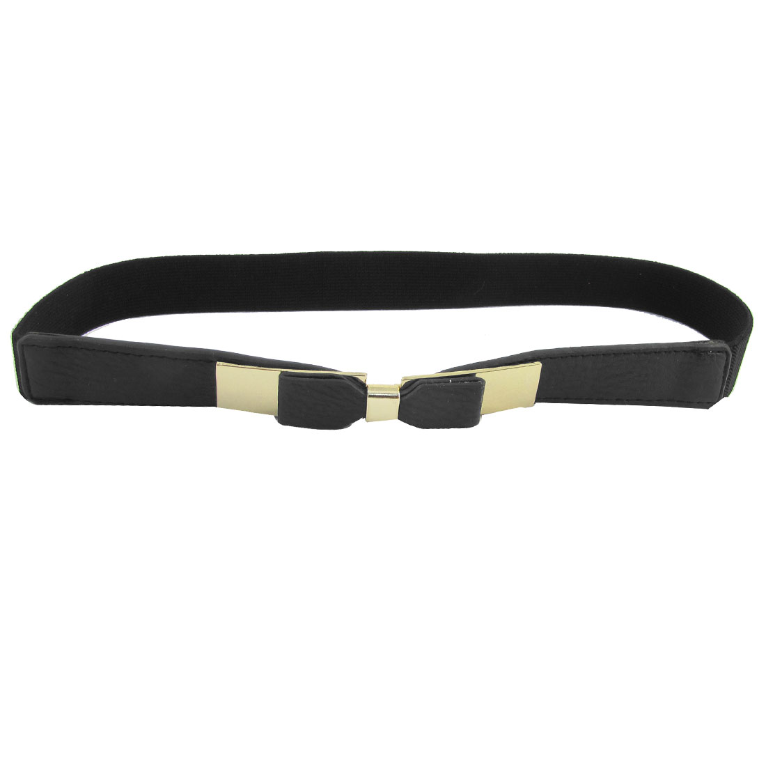 Ladies Metal Rectangle Shape Interlock Buckle Black Textured Spandex Waist Belt