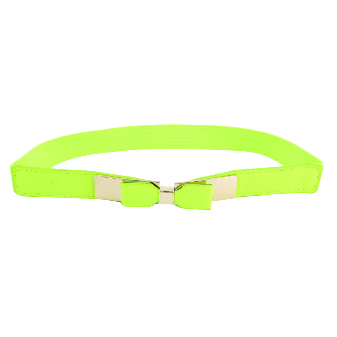 Bowknot Decor Metal Buckle 2.3cm Wide Textured Elastic Cinch Band Yellow Green