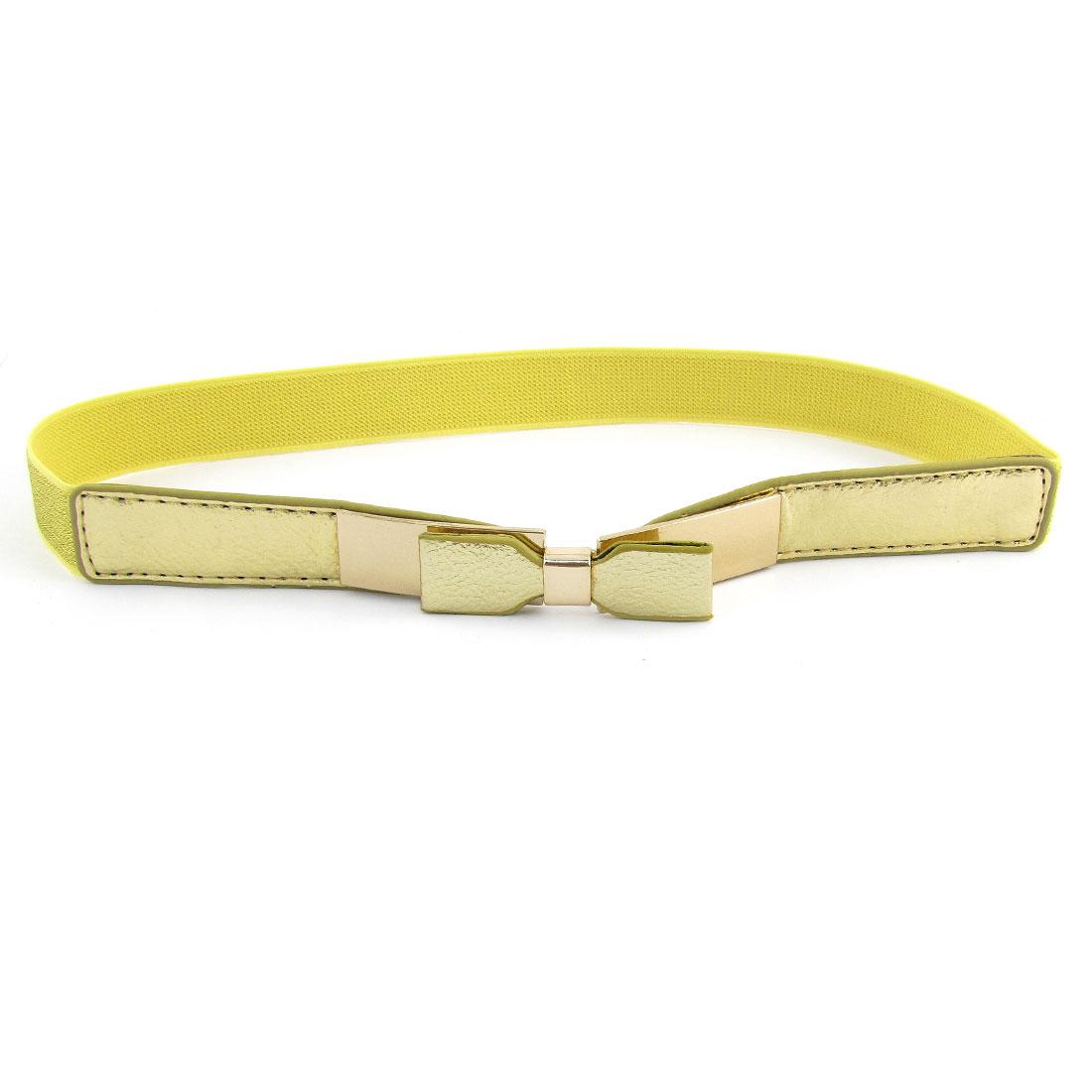 Lady Bowknot Ornament Gold Tone Metal Interlock Buckle Elastic Silm Waist Belt