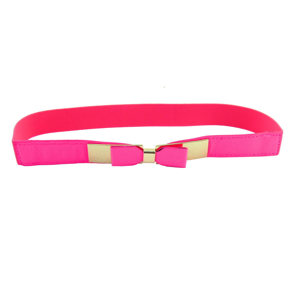 Rectangular Design Metal Interlock Buckle Stretch Silm Belt Waistband Hot Pink