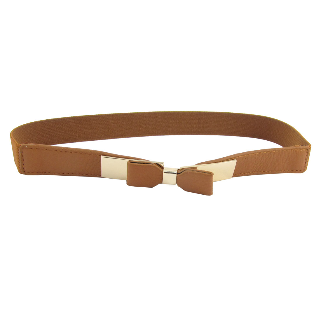 Metal Interlock Buckle Faux Leather Part Silm Belt Stretchy Waistband Brown