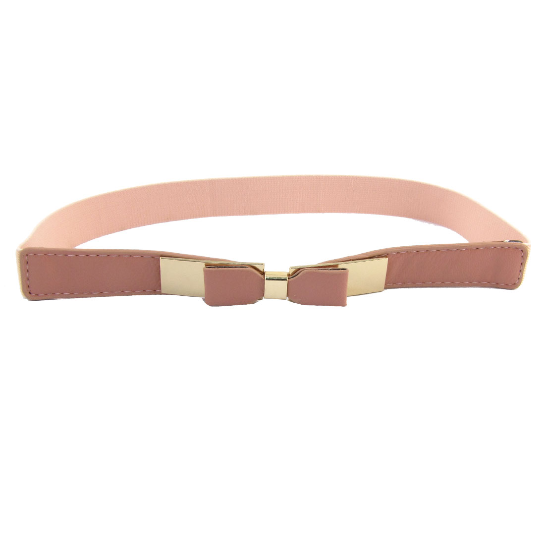 Women Bowknot Detail Interlocking Buckle Textured Stretchy Waist Belt Pale Pink