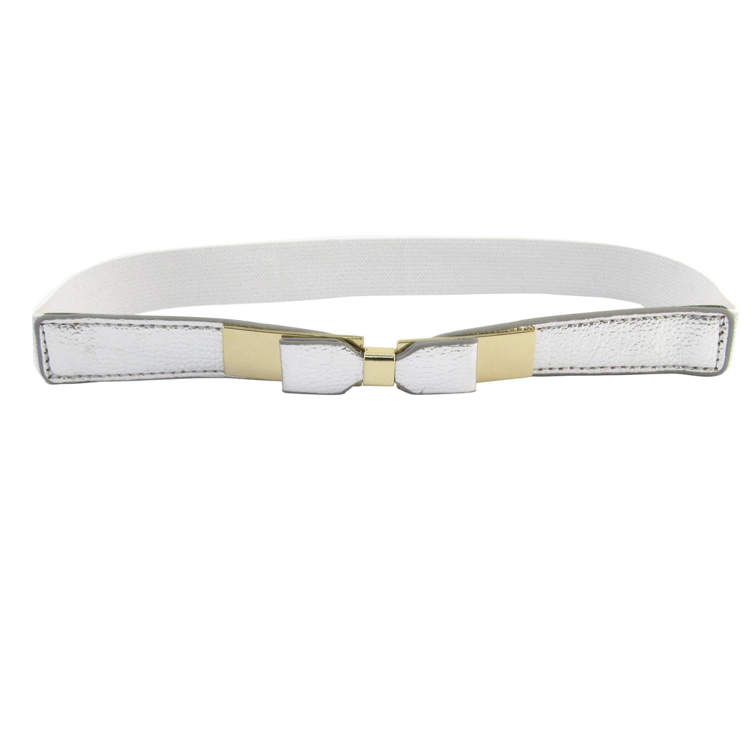 Silver Tone Metal Rectangle Shape Interlock Buckle Textured Spandex Waist Belt
