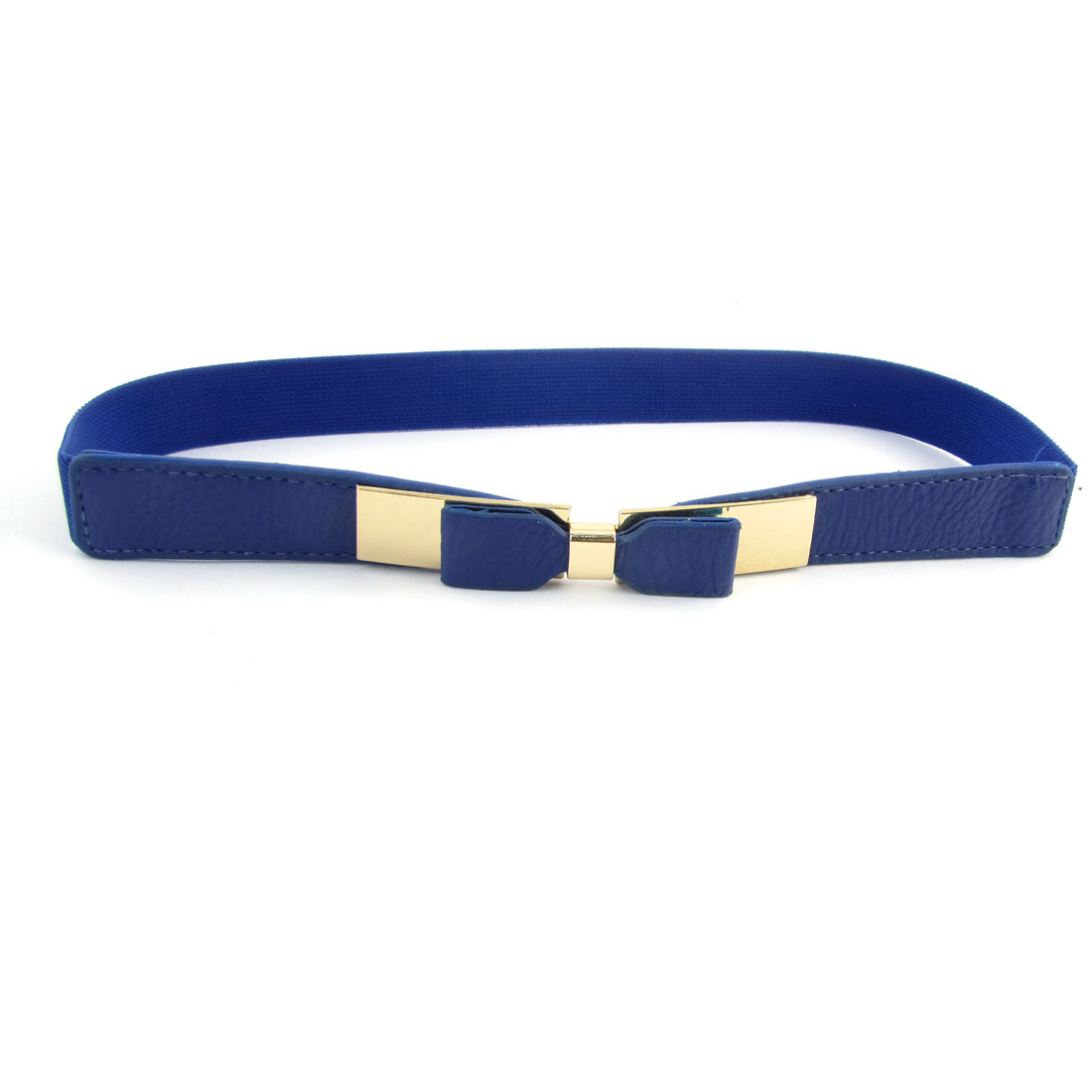 Blue Bowknot Decor Metal Interlock Buckle Stretchy Cinch Waist Belt for Women