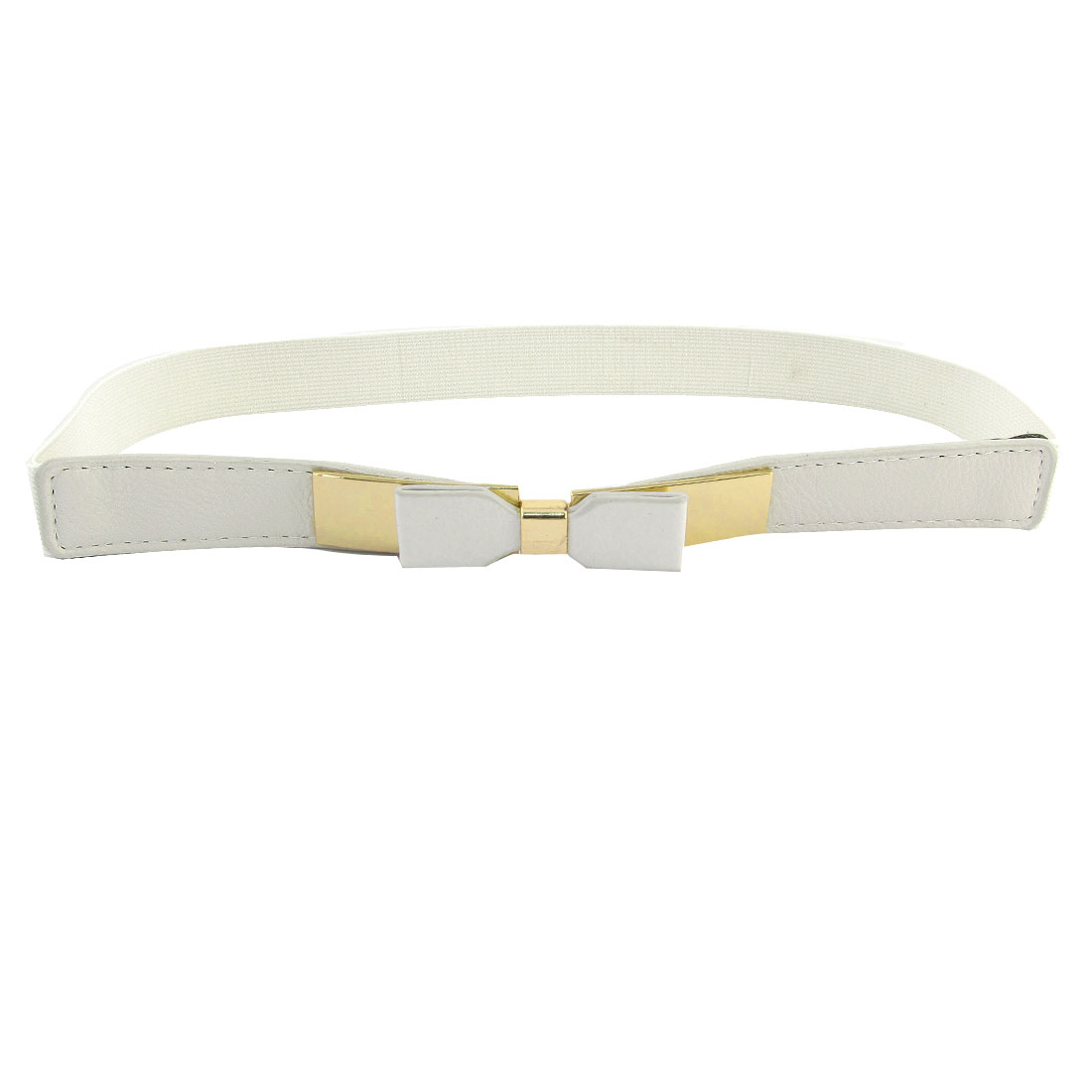 Women Rectangle Shaped Metal Interlocking Buckle Stretchy Silm Waist Belt White