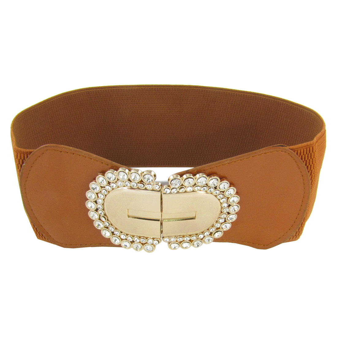 Metal Interlocking Buckle 7.3cm Width Stretchy Waist Belt Brown for Lady