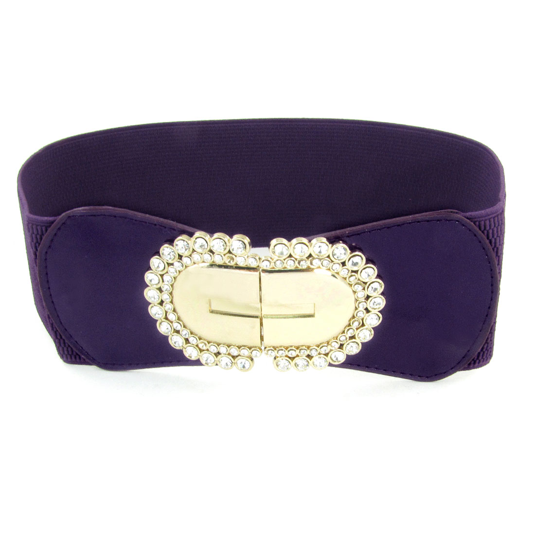 Glitter Rhinestones Accent Metal Interlock Buckle Dark Purple Spandex Cinch Belt