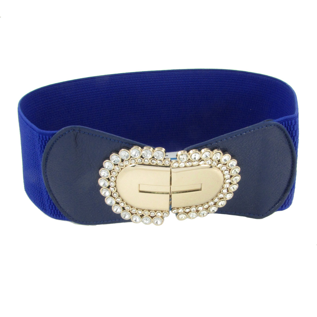 Oval Design Metal Interlocking Buckle Textured Elastic Waistband Blue