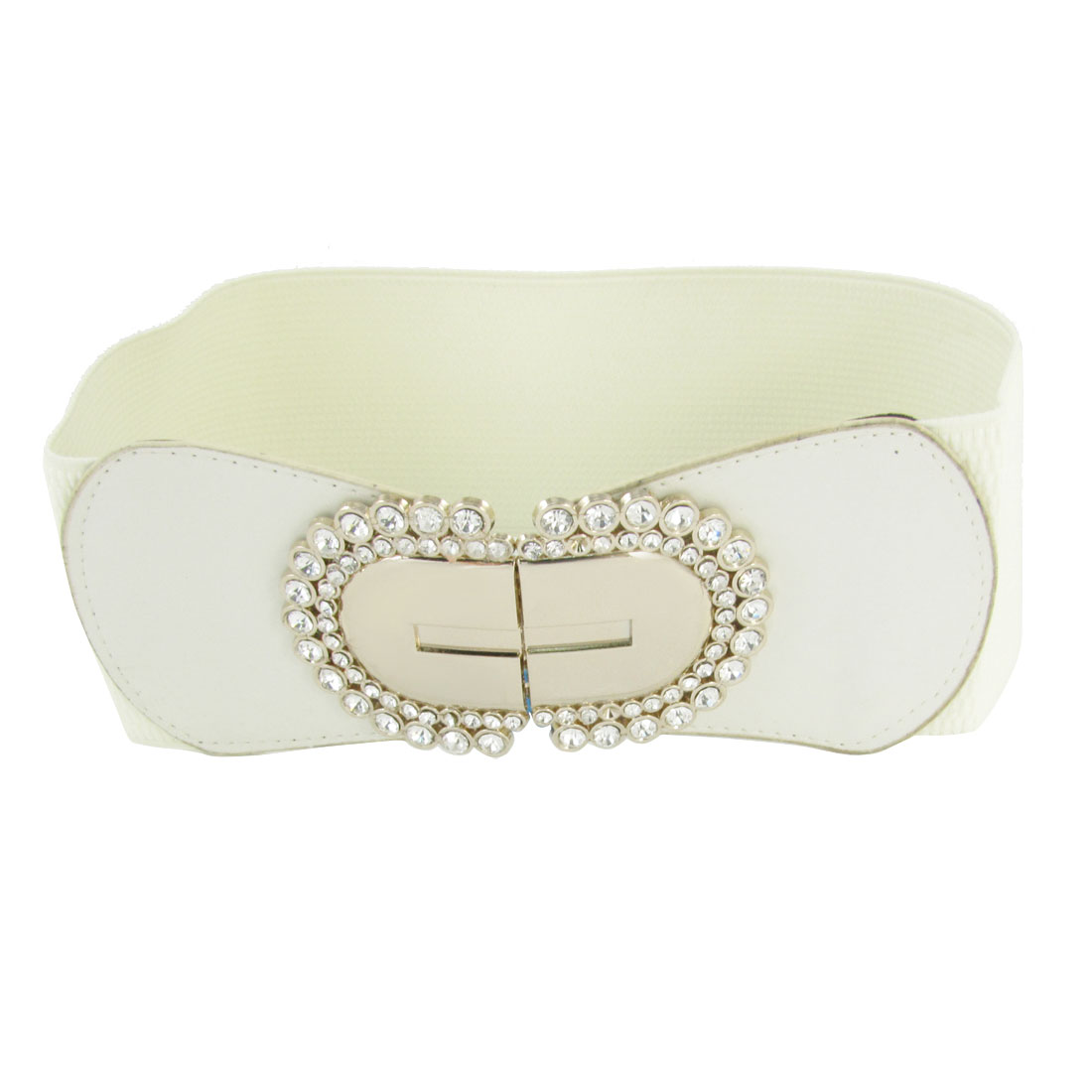 Lady Glitter Rhinestone Decor Metal Interlock Buckle Elastic Waistbelt Off White