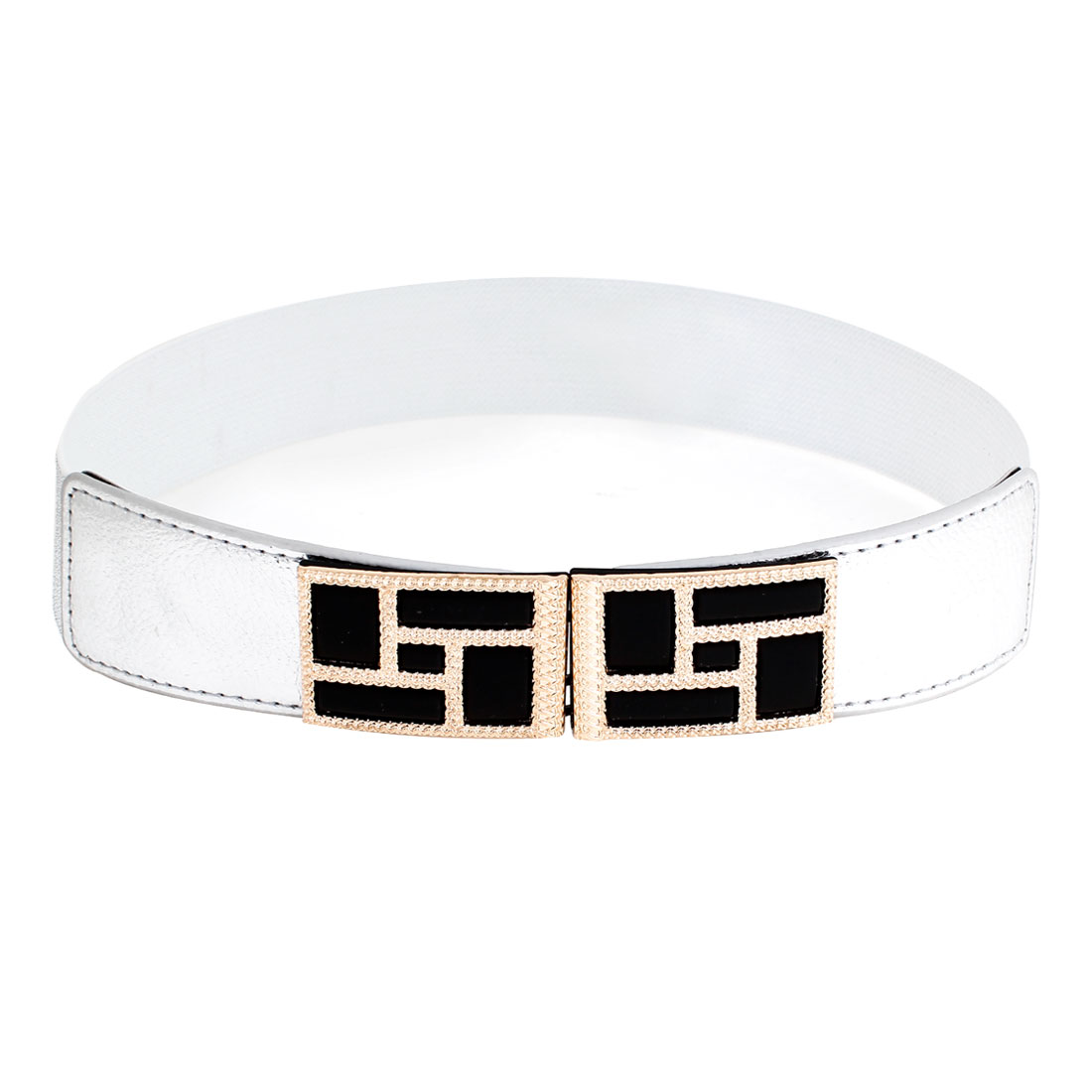 Lady Metal Interlocing Buckle 4cm Width Elastic Silver Tone Waistband Belt