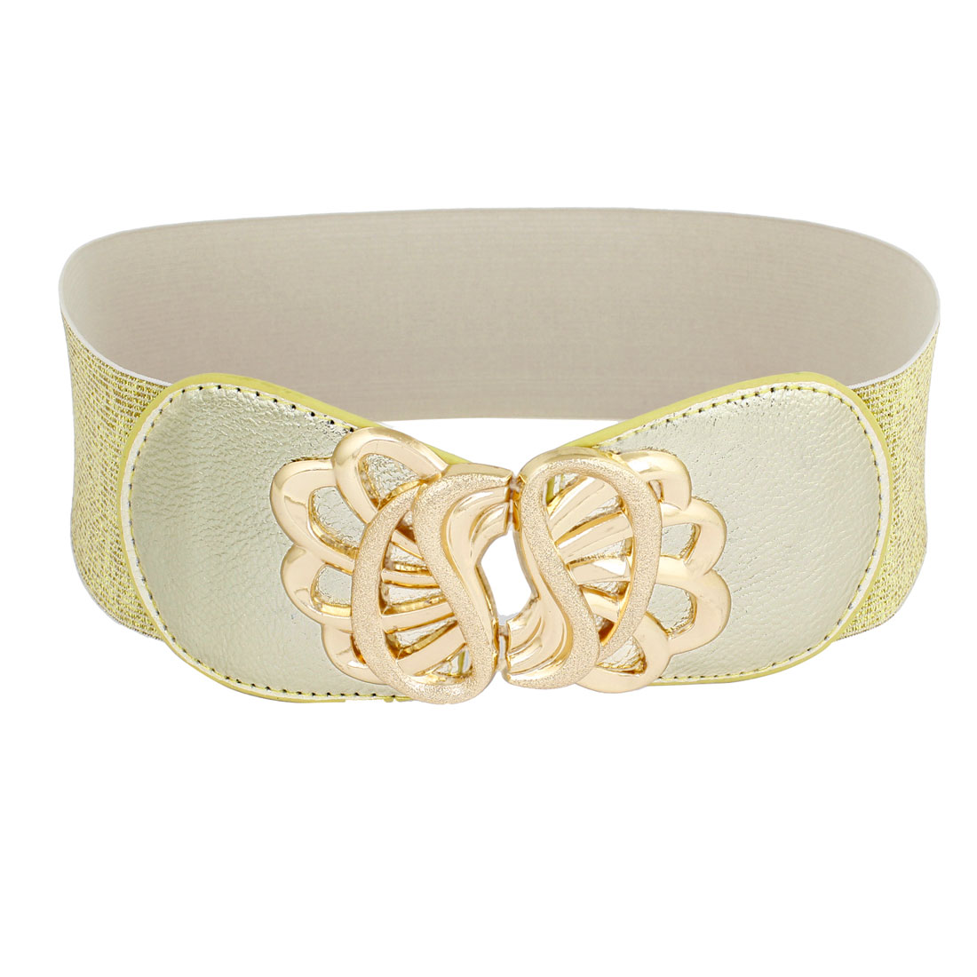 Lady Metal Interlocing Buckle 6cm Width Elastic Gold Tone Waist Belt Band