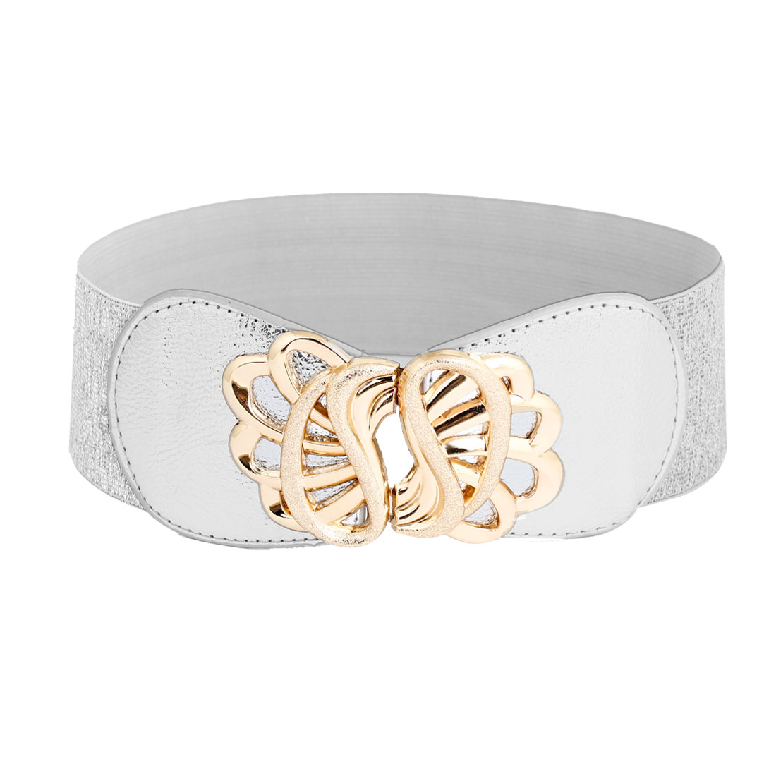 Lady Floral Design Interlock Buckle Stretchy Waist Belt Waistband Silver Tone
