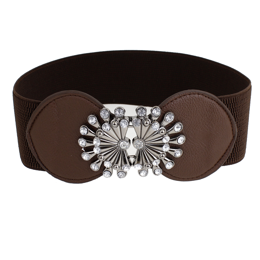 Lady Rhinestone Decor Interlock Buckle 6cm Width Dark Brown Waist Belt Band