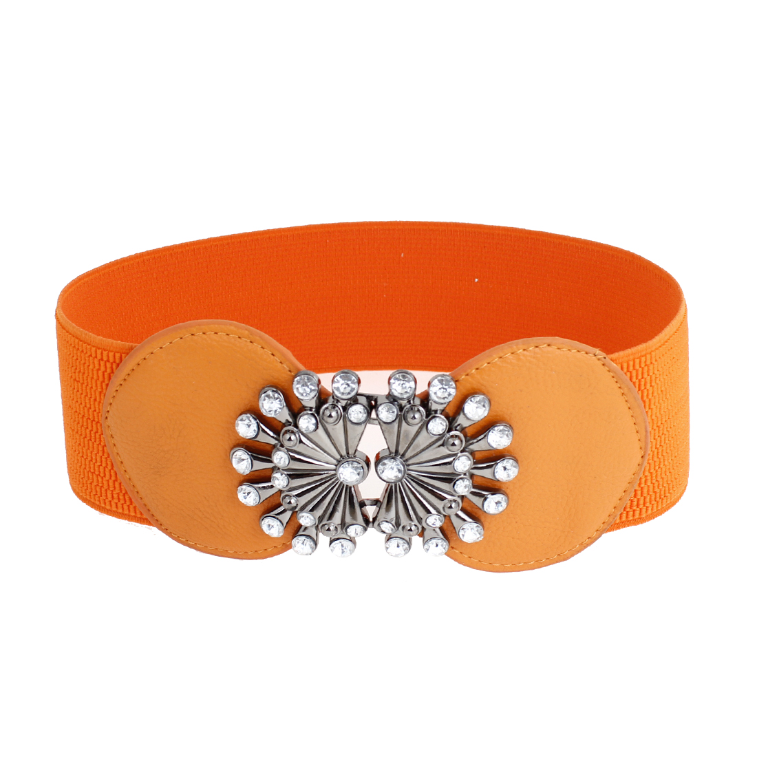 Lady Rhinestone Detail Interlocking Buckle Elastic Waistband Corset Band Orange