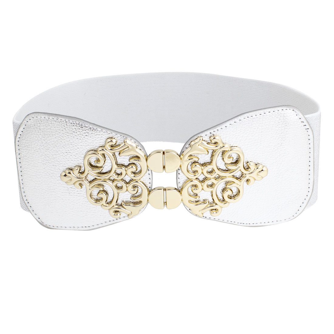 Women Metal Flower Detailing Hook Buckle Stretchy Waistbelt Band Silver Tone