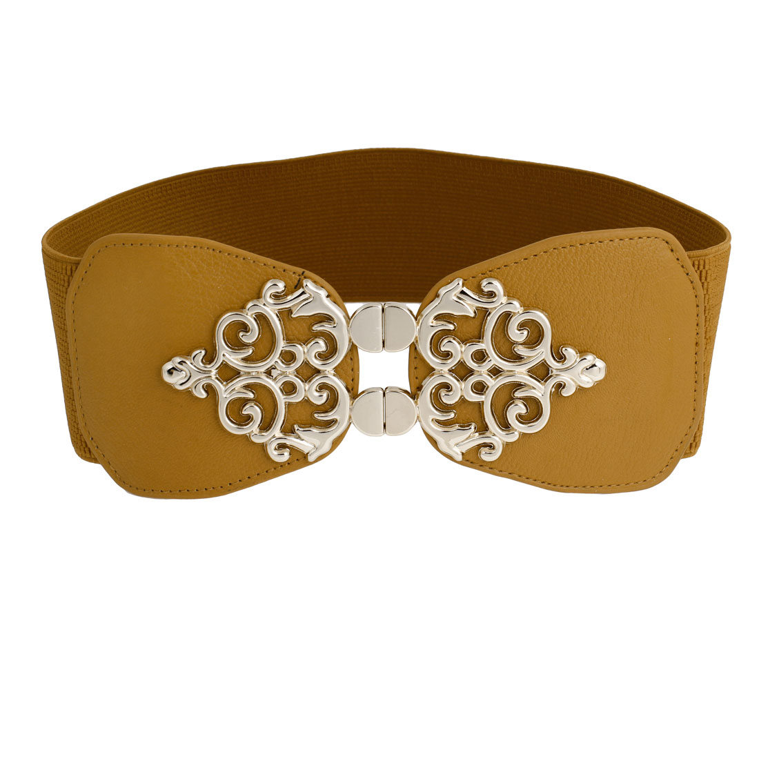 Lady 7.5cm Width Interlocking Buckle Brown Elastic Cinch Belt Band