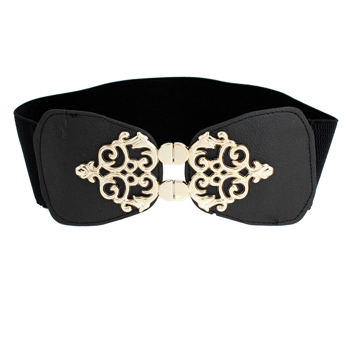 Metal Floral Design Interlock Buckle Black Elastic Waist Band Belt for Lady