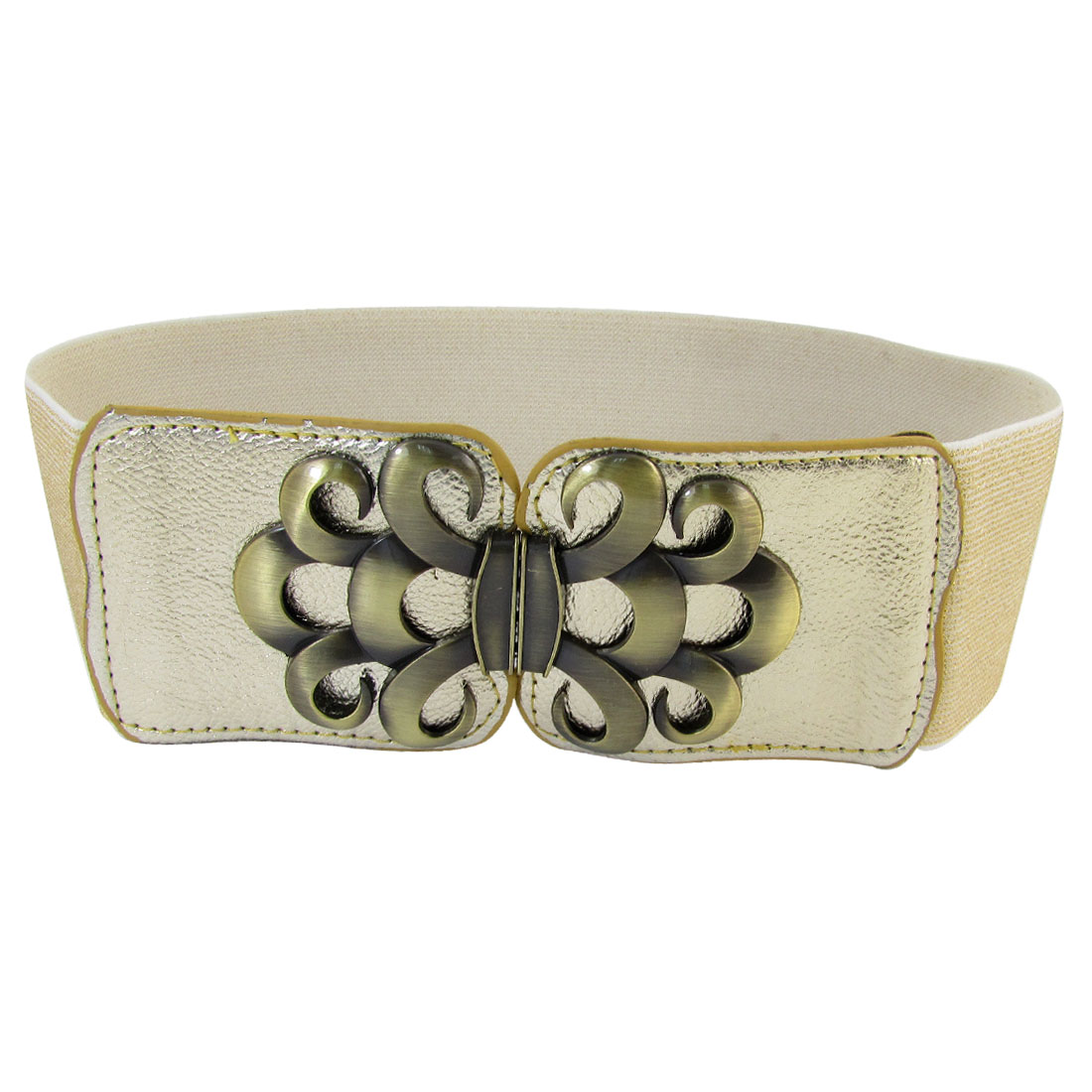 Metal Flower Shape Interlocking Buckle Textured Spandex Waist Belt Gold Tone