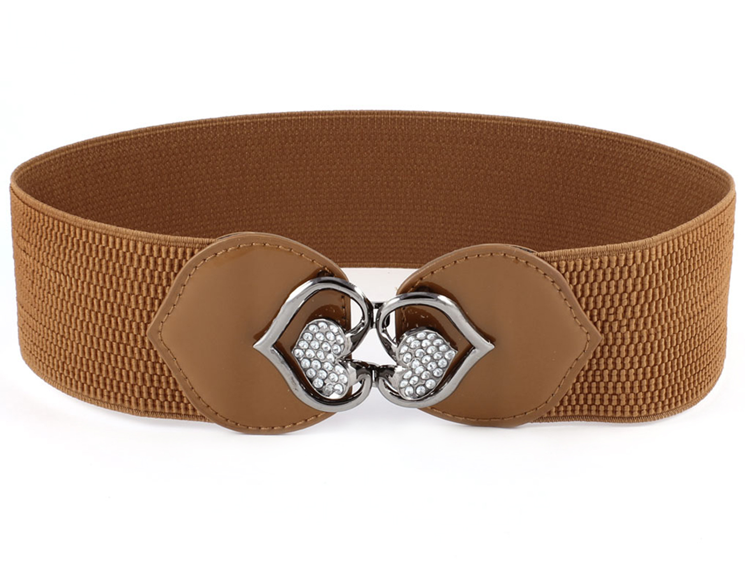 Ladies Double Hearts Interlocking Buckle Cinch Waist Belt 6CM Wide Brown Gray