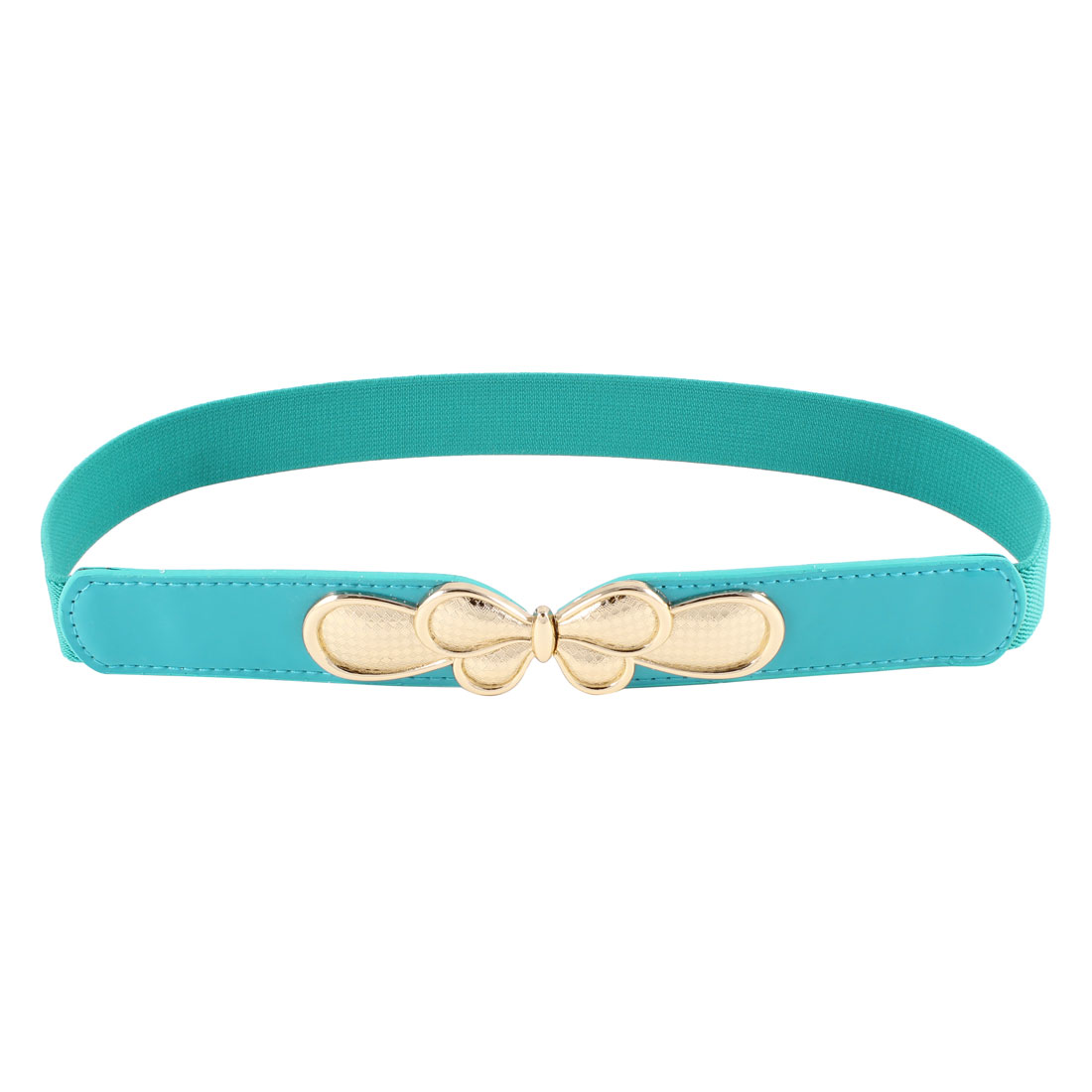 Women Butterfly Interlock Buckle Thin Skinny Waistband Cinch Belt Teal Green
