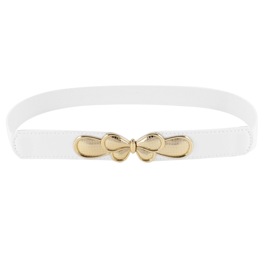 Woman Butterfly Interlocking Buckle Cinch Waist Belt 2.5CM Width White