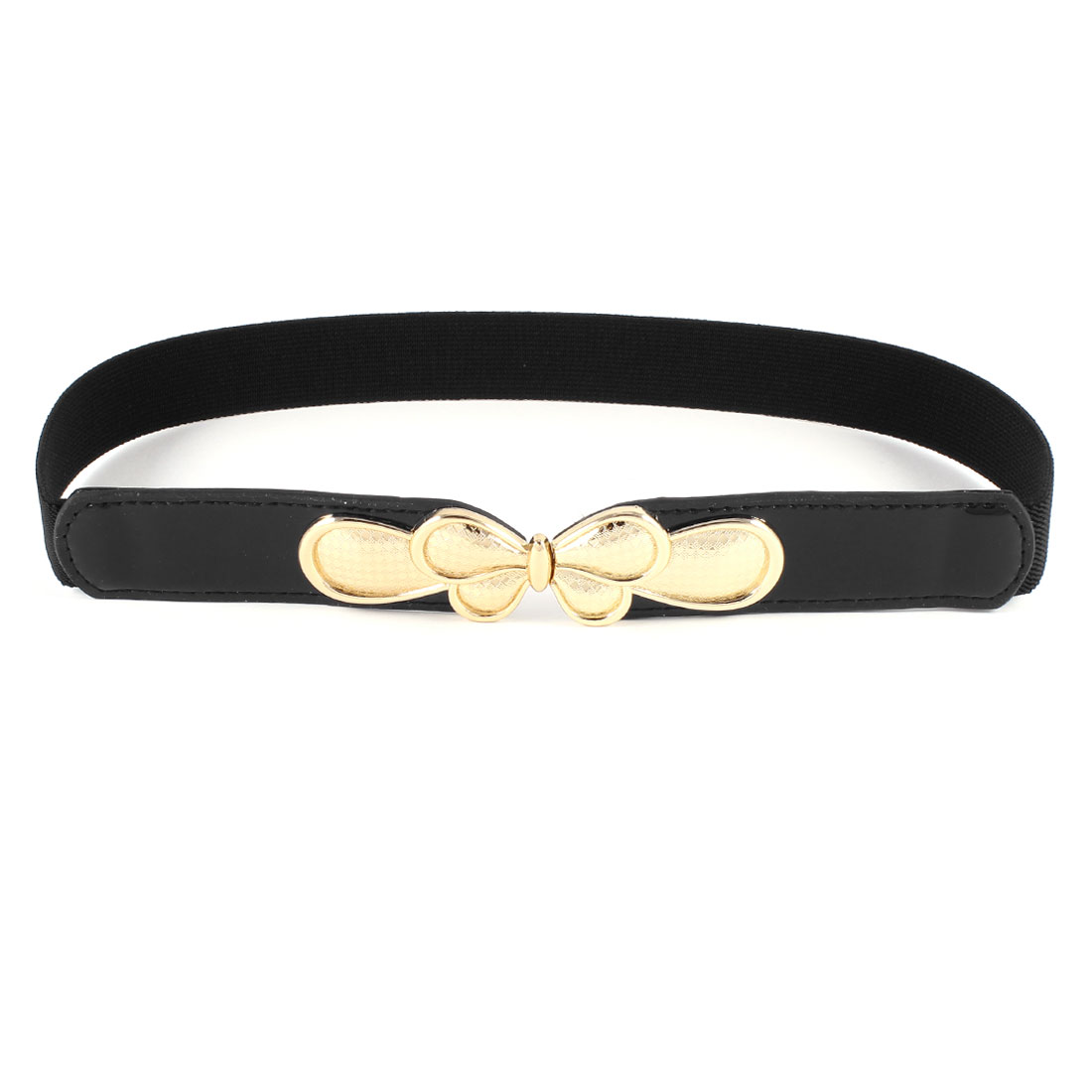 Women Butterfly Interlock Buckle Thin Skinny Waistband Cinch Waist Belt Black