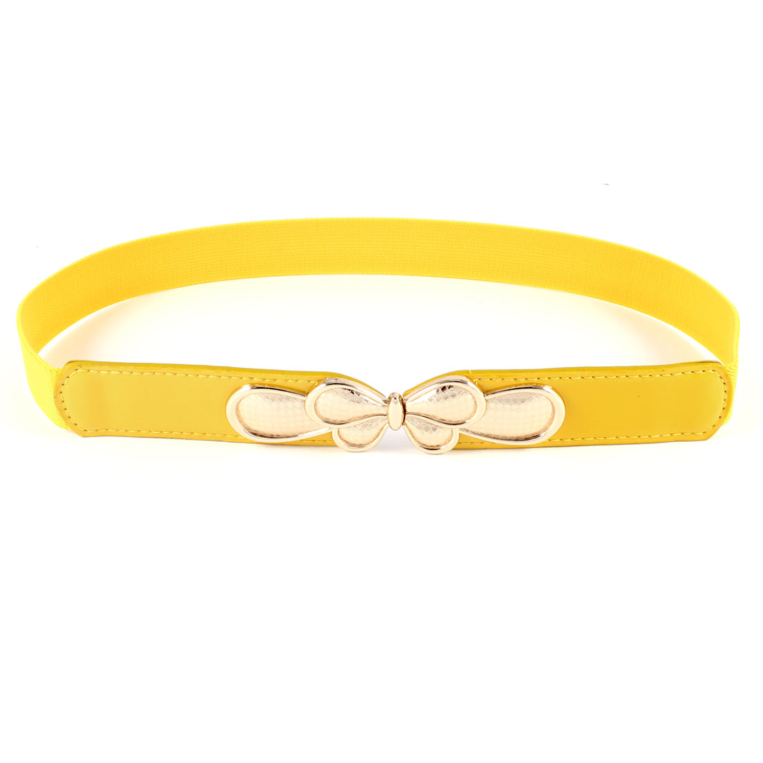 Yellow Gold Tone Faux Leather Textured Waistband Stretchy Skinny Belt for Women