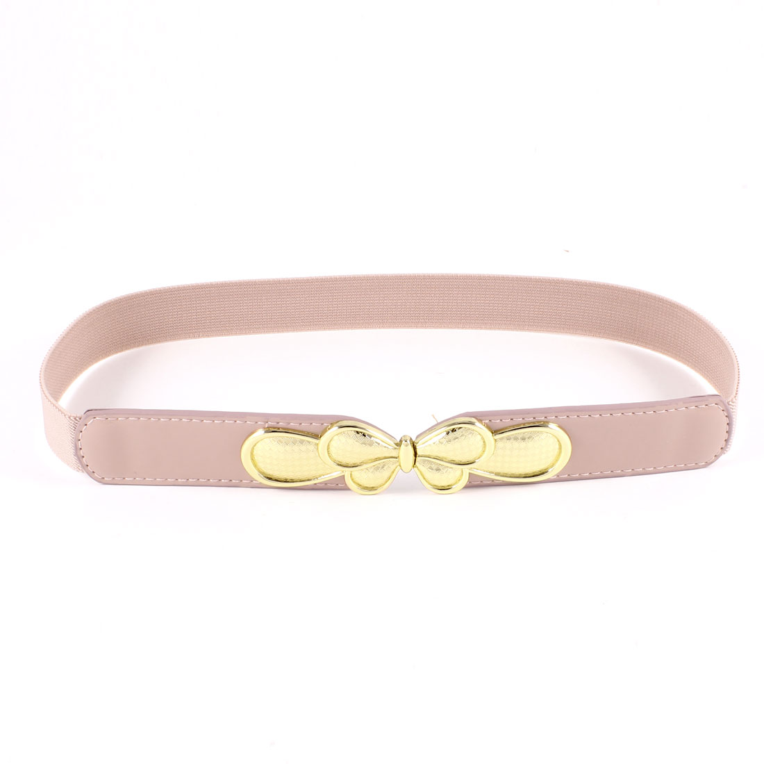Woman Butterfly Interlock Buckle Thin Skinny Waistband Cinch Waist Belt Pink