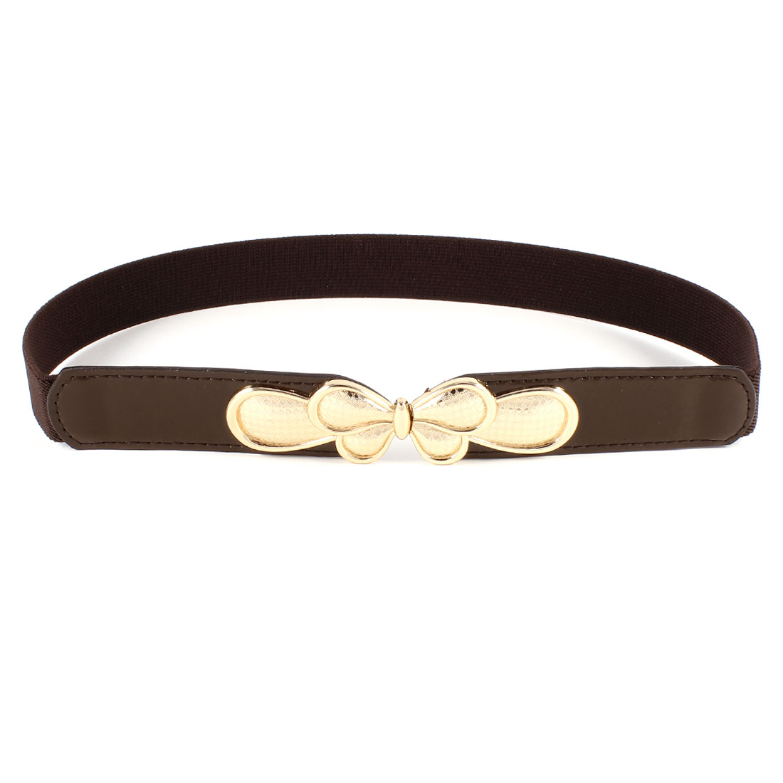 Woman Butterfly Interlocking Closure Cinch Waist Belt 2.5CM Wide Dark Brown