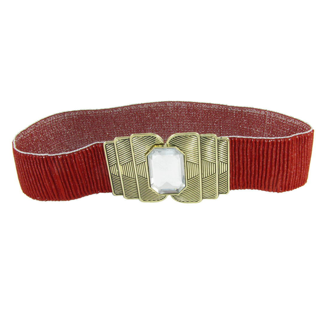 Lady Faux Crystal Accent Metal Interlock Buckle Red Ruched Spandex Waist Belt