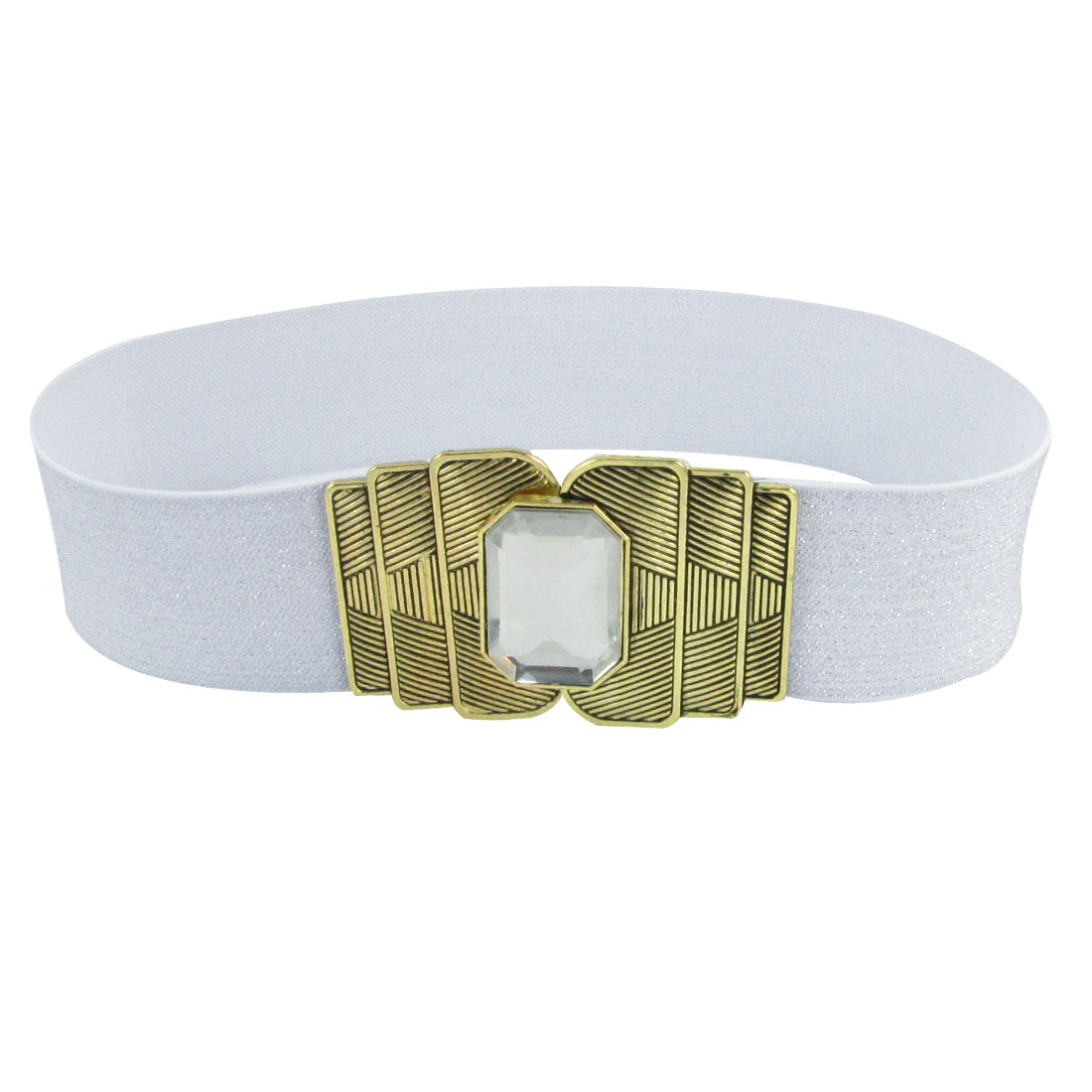 Plastic Crystal Decor Interlock Buckle 5cm Wide Elastic Cinch Belt Silver Tone