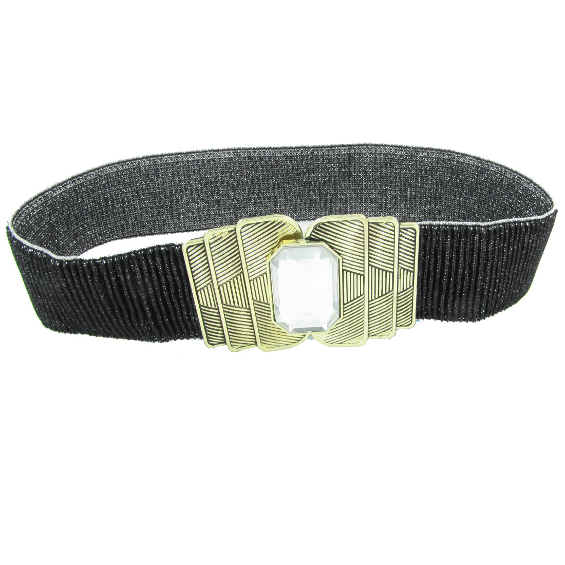 Women Metal Striped Pattern Interlocking Closure Elastic Cinch Waist Belt Black