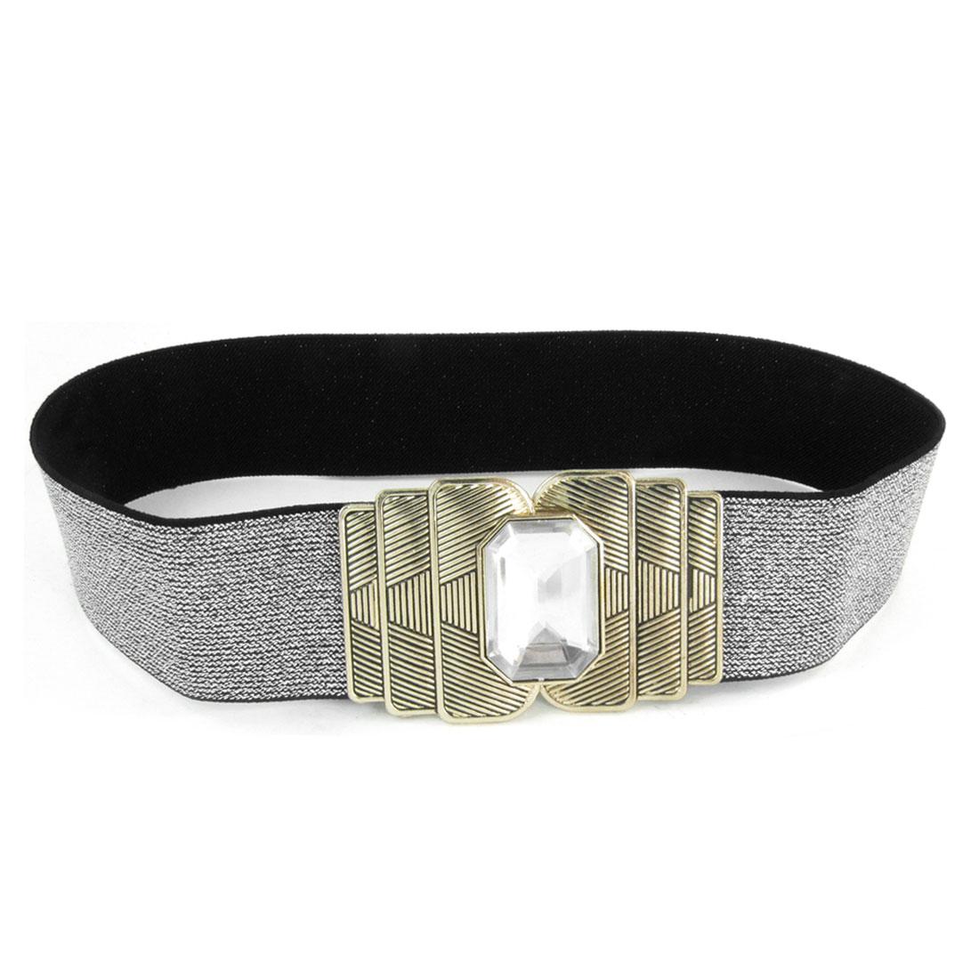 Lady Faceted Crystal Detail Metal Interlock Buckle Spandex Waistbelt Silver Tone