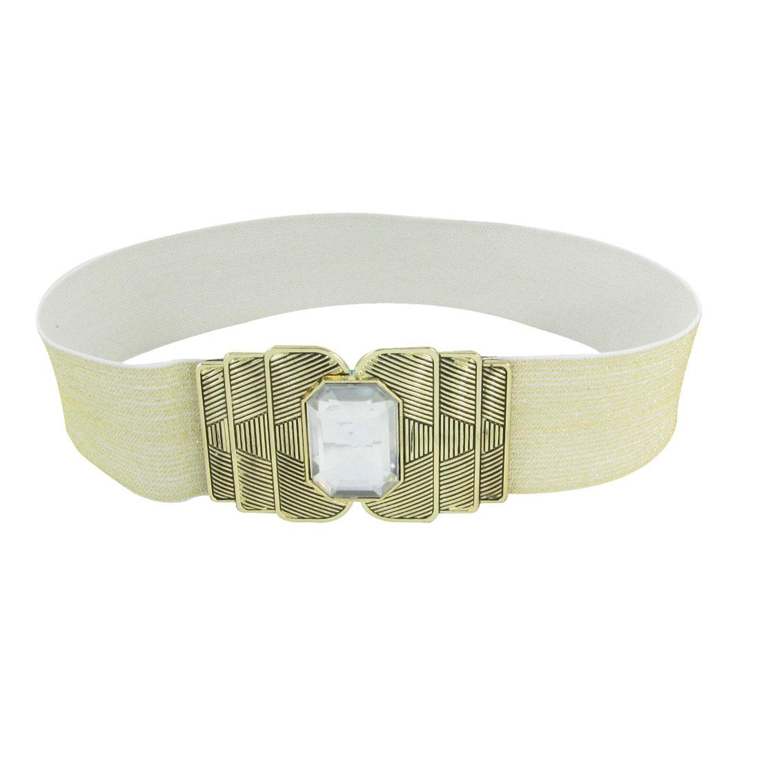Gold Tone Metal Interlocking Buckle 5cm Wide Spandex Cinch Band Waist Belt